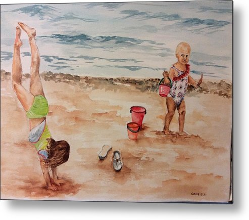 Children Metal Print featuring the painting Beach Fun. 1 by Ellen Canfield