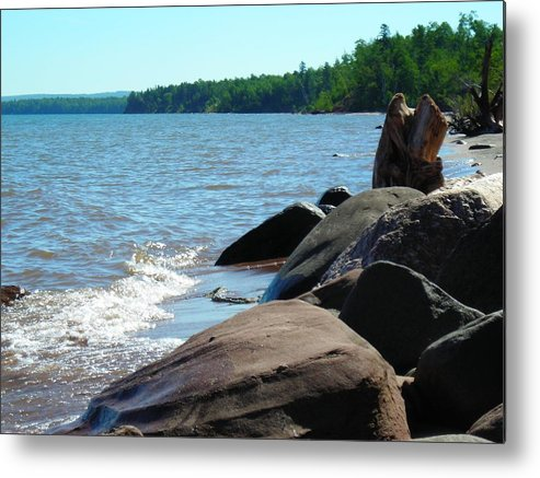 Beach Metal Print featuring the photograph Beach On The Rocks by Peter Mowry
