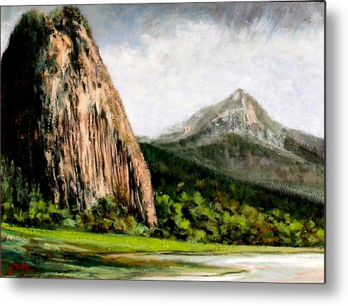 Landscape Metal Print featuring the painting Beacon Rock Washington by Jim Gola