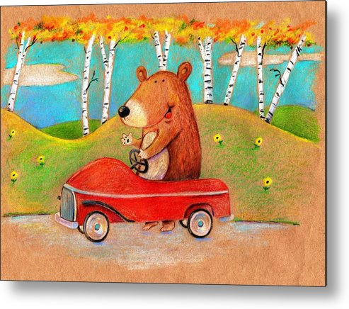Bear Metal Print featuring the drawing Bear Out For A Drive by Scott Nelson