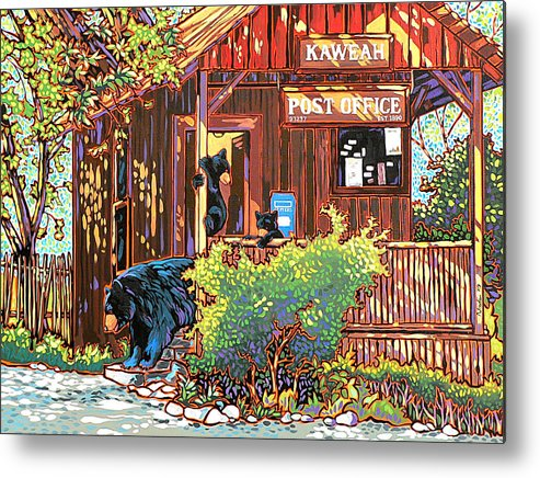 Bear Metal Print featuring the painting Bear Post by Nadi Spencer