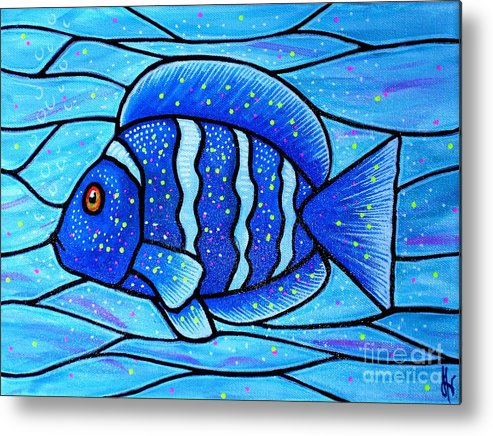 Tropical Fish Metal Print featuring the painting Beckys Blue Tropical Fish by Jim Harris