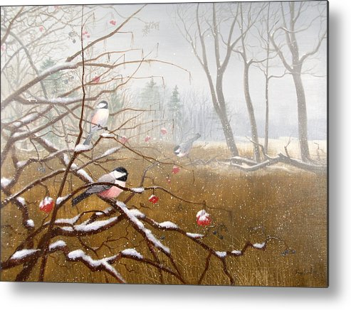 Chickadees Metal Print featuring the painting Berry Good Friends by Sean Seal