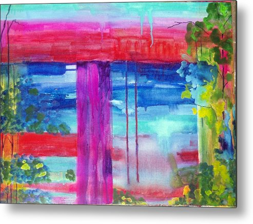 Landscape Metal Print featuring the painting Beyond The Canvas by Maritza Bermudez