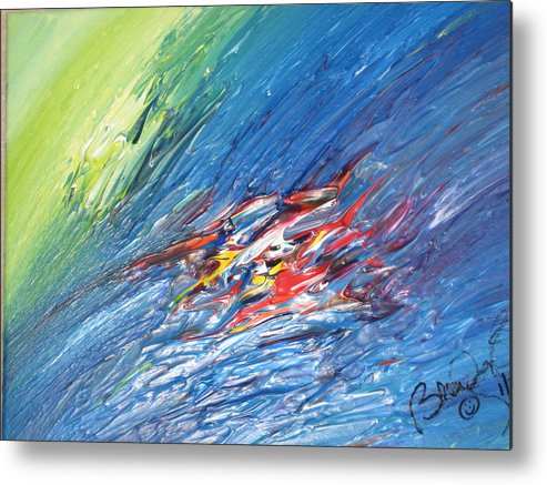 Abstract Metal Print featuring the painting Bliss - E by Brenda Basham Dothage