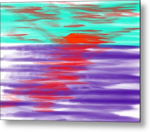 Sky.clouds.sun.sunrays.sunset.sea.water.reflection.slow Waves.deep Water.evening.rest.silence Metal Print featuring the digital art Blue Deep Evening by Dr Loifer Vladimir