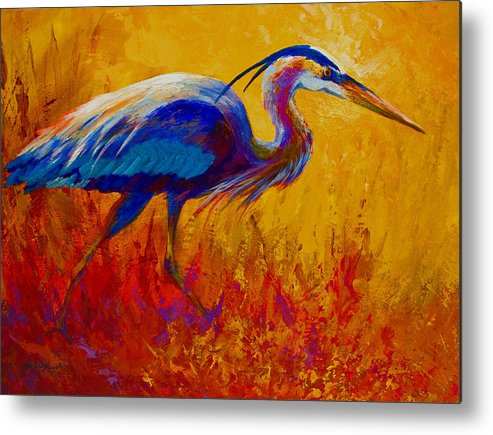 Heron Metal Print featuring the painting Blue Heron by Marion Rose