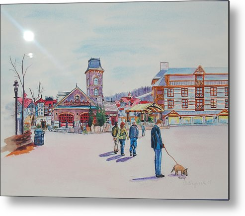 Scenic Metal Print featuring the painting Blue Mountain Collingwood Ontario by Henny Dagenais