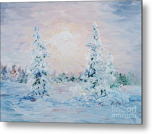 Landscape Metal Print featuring the painting Blue Winter by Nadine Rippelmeyer