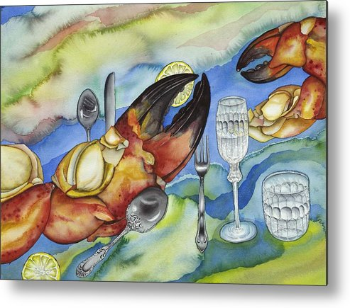 Sea Metal Print featuring the painting Bon Appetit Favorite Food 2 Right Image Diptych by Liduine Bekman