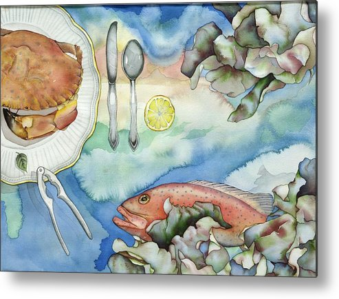 Sea Metal Print featuring the painting Bon Appetit Together Right Image Diptych by Liduine Bekman