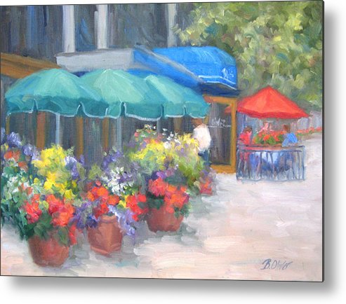 Cafe Metal Print featuring the painting Breakfast At Blus by Bunny Oliver