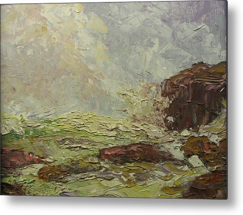 Landscape Metal Print featuring the painting Breaking On Shore Coast Of Maine Usa by Belinda Consten