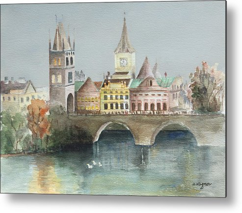 Bridge Metal Print featuring the painting Bridge Over The Lake by Arline Wagner