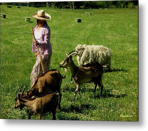 Western Landscape Metal Print featuring the painting Bringing Home The Flock by Anastasia Savage Ealy
