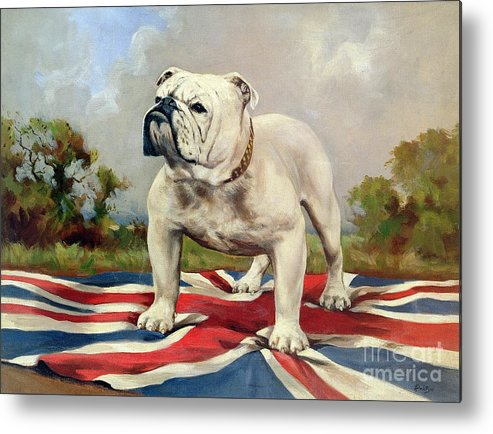 Grb; Union Jack; Dog Metal Print featuring the painting British Bulldog by English School