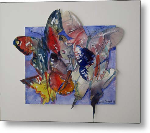 Butterflies Metal Print featuring the painting Butterflies In Flight by Joyce Kanyuk