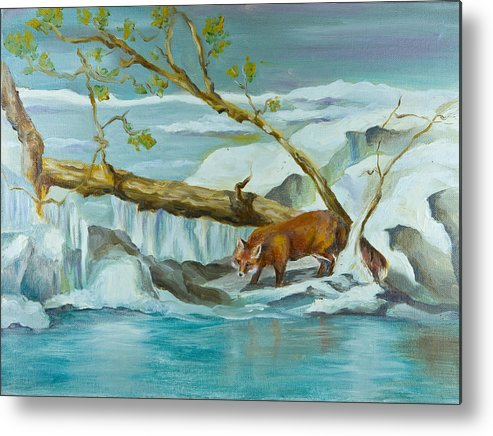 Lanscape Metal Print featuring the painting By The Waters Edge by Joni Herman