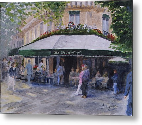 Cafe Magots Metal Print featuring the painting Cafe Magots by Jay Johnson