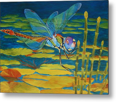 Dragonfly Metal Print featuring the painting Captivated by Karen Dukes