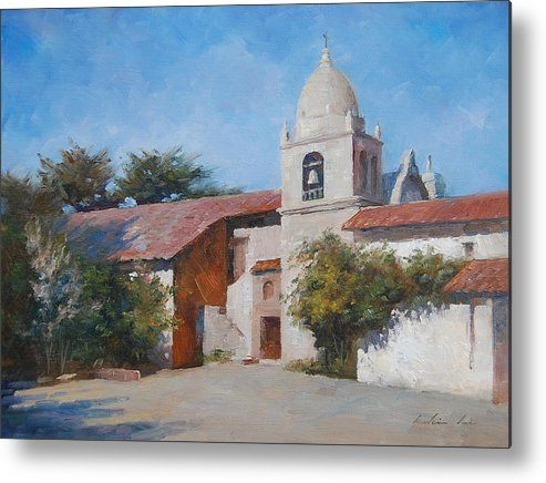 Landscape Metal Print featuring the painting Carmel Mission by Kelvin Lei
