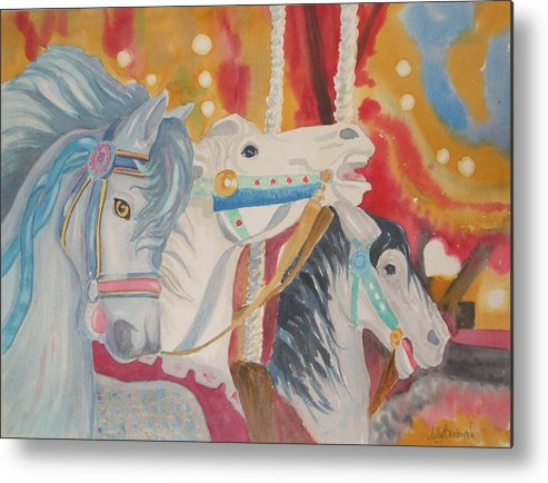 Carousel Metal Print featuring the painting Carousel 1 by Ally Benbrook
