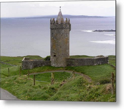 Castle Metal Print featuring the photograph Castle By The Sea In Ireland by Jeanette Oberholtzer