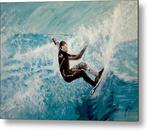 Surfer Water Wave Beach Metal Print featuring the painting Catch by Jim Phillips