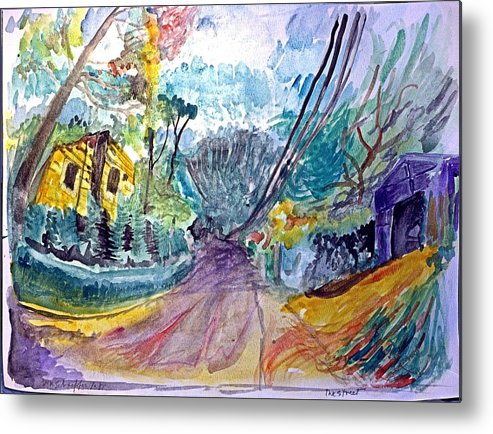 Street Scene Metal Print featuring the drawing Cedar Valley Lane Huntington Ny by Don Schaeffer
