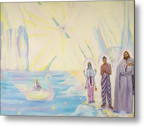 Divine Union Painting Metal Print featuring the painting Celestial Shores by Sonya Ki Tomlinson
