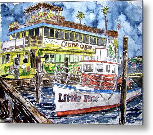 Seascape Metal Print featuring the painting Clearwater Florida Boat Painting by Derek Mccrea