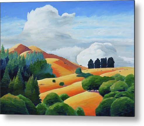 Clouds Metal Print featuring the painting Clouds Over Windy Hill by Gary Coleman