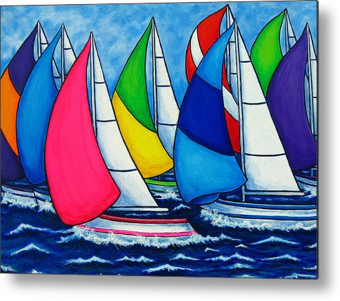 Boats Metal Print featuring the painting Colourful Regatta by Lisa Lorenz