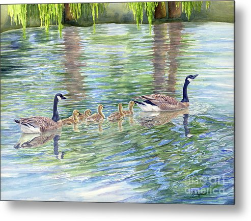 Canadian Geese Metal Print featuring the painting Commitment by Malanda Warner
