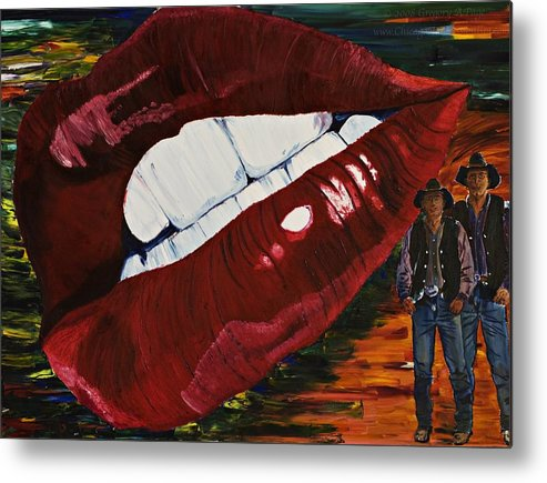 Cowboy Metal Print featuring the painting Cowboy Lips by Gregory Allen Page