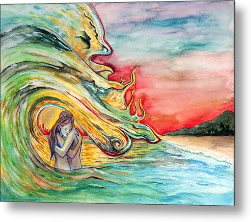 Ocean Metal Print featuring the painting Crash by Starr Weems
