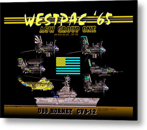 Aviation Metal Print featuring the digital art Cvsg-57 And Uss Hornet by Mike Ray