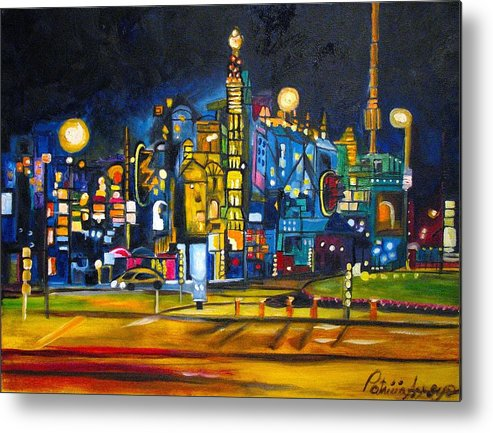 Cityscape Metal Print featuring the painting Dam Square by Patricia Arroyo