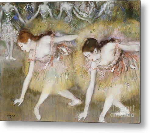 Dancers Bending Down (oil On Canvas) By Edgar Degas (1834-1917) Impressionism; Impressionist; Female; Dancer; Dancing; Dance; Ballet; Ballerina; Tutu; Degas Metal Print featuring the painting Dancers Bending Down by Edgar Degas