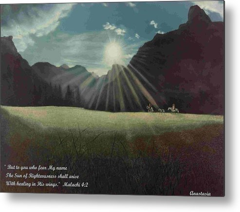 American Metal Print featuring the painting Dawn Riders With Verse by Anastasia Savage Ealy