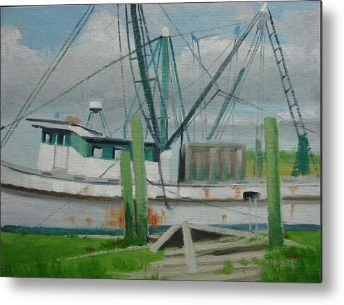 Boat Shrimp Boat Work Boat Metal Print featuring the painting Day Of Rest by Robert Rohrich