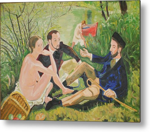 Metal Print featuring the painting Dejeuner Sur L'herbe by Biagio Civale