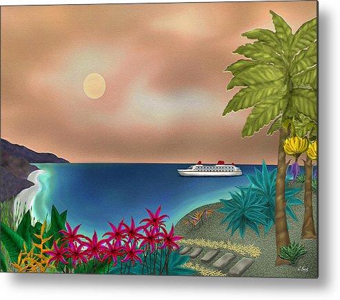 Contemporary Tropical Seascape Ocean Travel Sailing Island Flowers Nature Sunset Gordon Beck Art Metal Print featuring the painting Destination by Gordon Beck