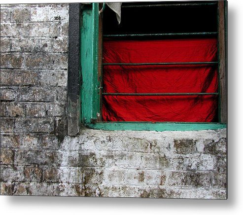 Red Metal Print featuring the photograph Dharamsala Window by Skip Hunt