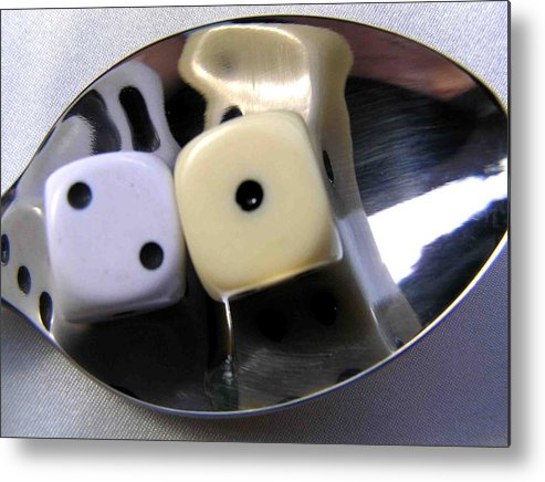 Dice Metal Print featuring the photograph Dice In A Spoon by Evguenia Men