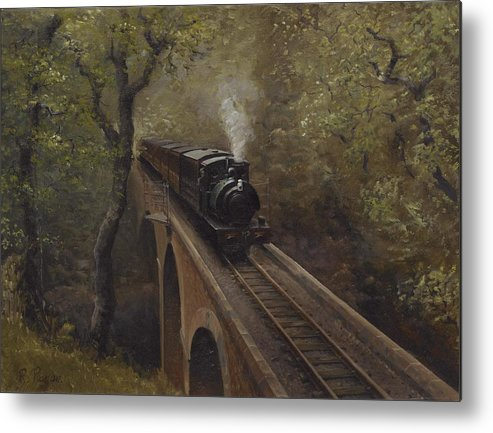 Steam Metal Print featuring the painting Dolgoch Viaduct by Richard Picton