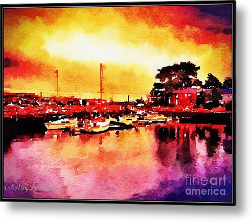Mix Media Metal Print featuring the mixed media Down By Dock 2 by MaryLee Parker