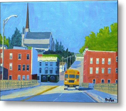 Landscape Metal Print featuring the painting Downtown With School Bus   by Laurie Breton