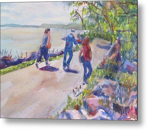 Landscape Metal Print featuring the painting Enjoying Spring by Joyce Kanyuk