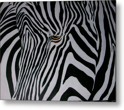 Zebra Metal Print featuring the painting Equus Grevyi  by Leo Gordon